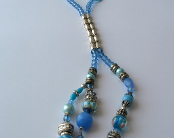 CLEARANCE SALE - Fresh light  blue beaded necklace