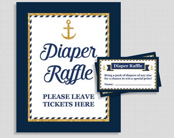 Nautical Diaper Raffle Sign and Tickets, Navy & Gold Anchor Baby Boy Shower, Invitation Insert, INSTANT PRINTABLE