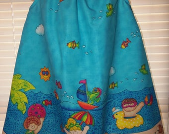 Vintage Patchwork Back to School Play Kids Beach Fish  Dress Size 4t  21in length