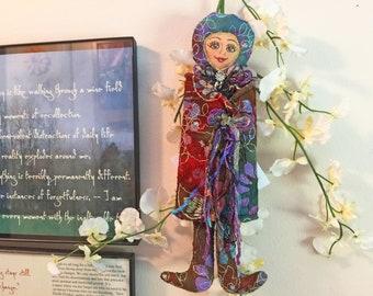 Wise Messenger Spirit, Spiritual Fiber art doll, OOAK, cloth art doll, stuffed doll, Collectible, Wise Messenger  #8
