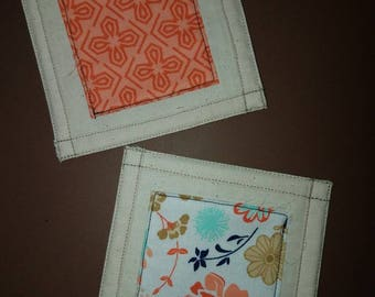 Orange quilted coasters, floral coasters