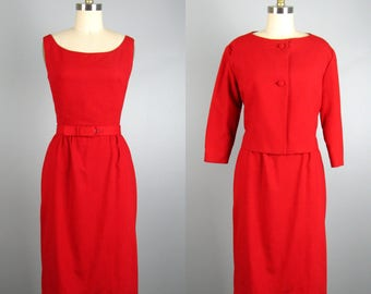 Vintage 1950s Red Wool Dress 50s Red Dress and Jacket Suit Set Size S/M