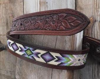 Beaded Leather Belt
