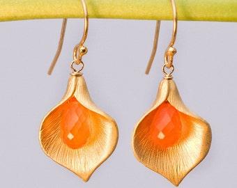 Carnelian Earrings - Orange Earrings - Calla Lily Earrings - Gold Earrings - Nature Inspired Jewelry