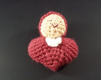Pocket Doll - Crocheted Heart Baby - Raspberry - FREE SHIPPING