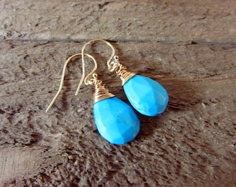 Turquoise Wire Wrapped Gold Earrings, Delicate Dangle, Turquoise Drop