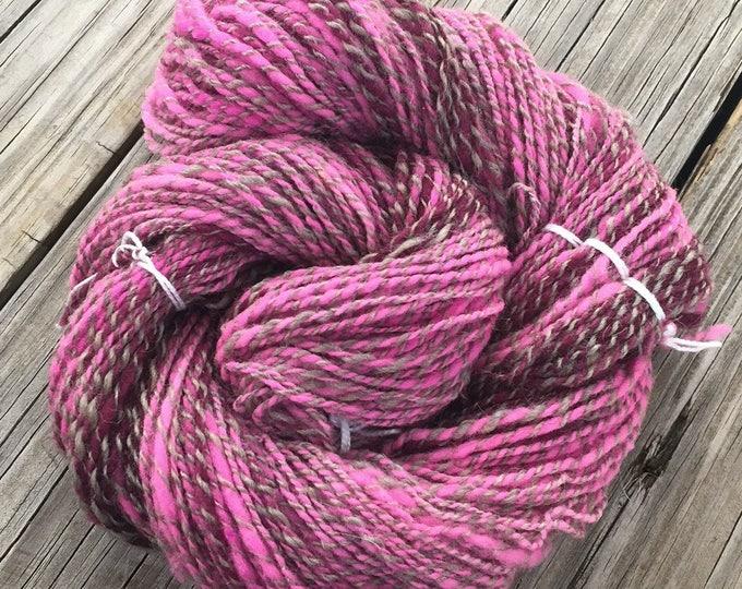 Optimistic Valentine Handspun Yarn Sport DK 2 ply wool bubblegum pink magenta purple silver gray FiberTerian 146 yards