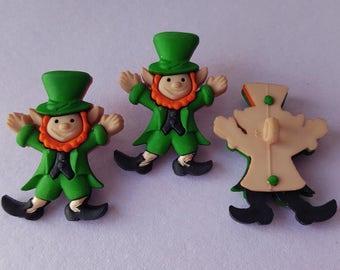 3 x LEPRECHAUNS St Patricks Day Lucky Irish Ireland Dress It Up Craft Buttons