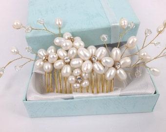Golden Spring - Freshwater Pearl Swarovski Crystal and Rhinestone Bridal Comb