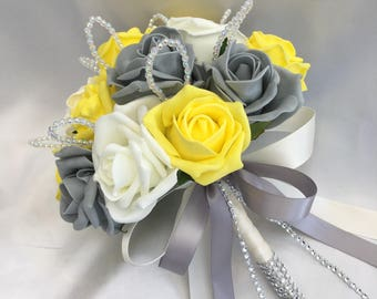 Artificial Wedding Flowers, Brides, Bridesmaids, Flower girls Posy Bouquet with Yellow, Grey and Ivory Roses with crystal loops
