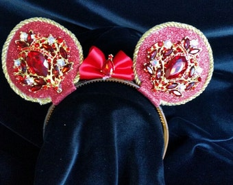 Red & Gold jeweled Rhinestone Mouse Ear Headband