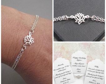 Adjustable Sterling Silver Tiny Lotus Flower Bracelet, Lotus Bracelet, Yoga Bracelet, Bridesmaid Bracelet, Wedding Jewelry, CUSTOM MESSAGE