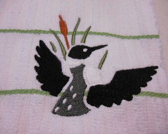 Common Loon Towel, Kitchen Towel Embroidery, White with Green Stripes, White with Black Stripes, Loon with Wings, Loons, Christmas Gift Idea