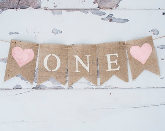 One Banner, Pink Heart One Banner, Princess 1st Birthday Banner, 1st Birthday Party Banner, B341