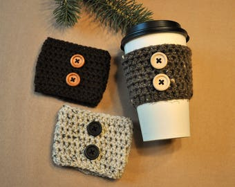 Coffee Cozy, Cup Cozy, Reusable Coffee Cozy, Button, Crochet Coffee Sleeve, Crocheted Cozy, Coffee Sleeve, Reusable Sleeve, Drink Sleeve