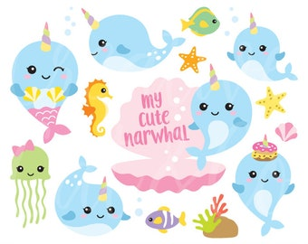 Narwhal Clipart Narwhal Clip Art Whale Unicorn Clipart Cute Baby Narhwal Clipart Baby Whale Clipart Unicorn of the Sea Clipart Clip Art