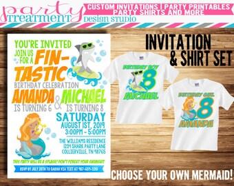 Shark and Mermaid Joint Birthday Invitation and Matching Shark Birthday Shirt and Mermaid Birthday Shirt Set Design #178
