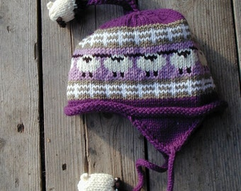 Acrylic Purple Kid's Sheep  Ear Flap Hat