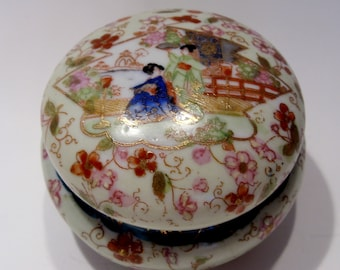 Geisha Girl Covered Ceramic Trinket , Jewelry, Dressing Table Box ,  Great Gift
