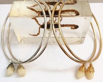 Real Human tooth hoop earrings