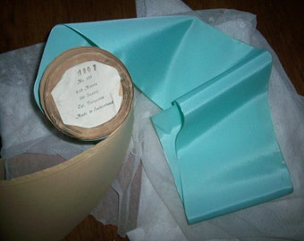 1 yd. of this vintage Silk Rayon turquoise color taffeta ribbon 5""