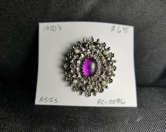 Brooch- antique rhinestone purple and white and silver