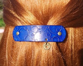 Leather French hair barrette, Hand Tooled Leather Hair Clip, women Hair Accessory, blue bubbles, ocean, water, leather accessory, bubbles