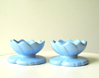 Contemporary vintage 50s pastel-baby blue pottery, lotus shape, two candleholdders. Made by Haeger in USA.