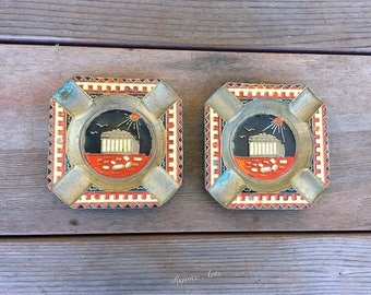 Pair of Vintage Brass Enamel Parthenon Ashtray Made in Greece