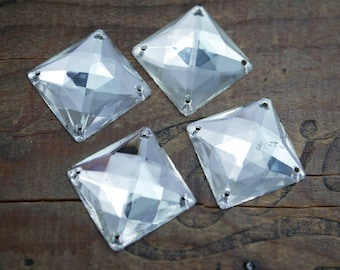 Vintage Big 25mm Glass Sew On Faceted Square Four Hole Sew On Large Sew On Pre WWII (1 stone) G315