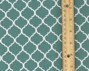Spa Blue Mini Quatrefoil Fabric, Fabric by the Yard, sewing fabric, woven cotton