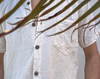 coconut shell linen button up