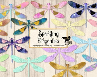 Sparkling Dragonflies Clipart, gold foil dragonfly clipart, glitter dragonfly, PNG graphics, scrapbook embellishments commercial use