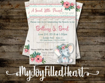 Watercolor Elephant Girl Baby Shower Invitation- Personalized - Digital Download - 5x7