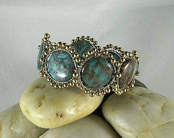 Blue Lace Agate Coin Bracelet - Wire Wrapped Cuff - Bronze