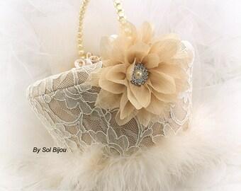 Flower Girl Basket, Vintage Style, Champagne,Beige, Tan, Ivory, Gold,Elegant Wedding,Gatsby, Feathers, Lace Basket, Bridal, Pearls, Crystals