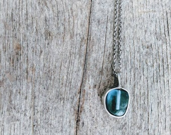 Seaglass Cremation Ash Memorial Urn Necklace- Cornflower Blue seaglass from England