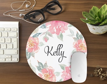 personalized mouse pad, Mousepad Floral Watercolor Mouse Mat Wreath Mouse Pad Office Mousemat Rectangular Personalized Mousepad Round T80994