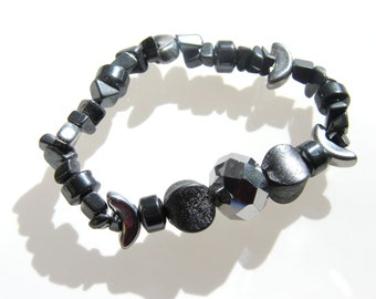 Hematite and mixed silver toned beaded stretch bracelet