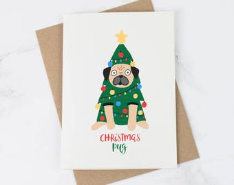 Christmas Pug Card - Pug Card - Christmas Card Her - Funny Christmas Cards - Pug Gift - Xmas Cards
