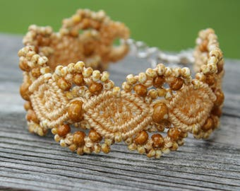 Micro-Macrame Cuff Bracelet. Modern Macrame. Picasso Beaded Bracelet. Neutral Beaded Cuff. Statement Jewelry. Boutique Fashion Piece.