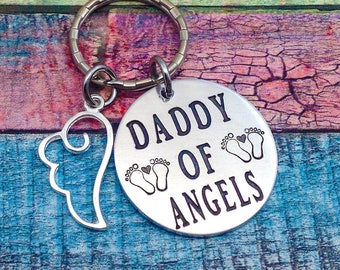 Miscarriage Twins, Daddy of Angels, Miscarriage gift, Multiple Miscarriage, Miscarriage Keychain, Loss of a child, Baby Angel, ENGRAVED