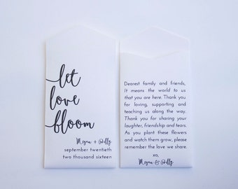 50+ Let Love Bloom White Custom Seed Packet Wedding Favors - Simple Favor for Guests - Small Seed Envelope Favor - Many Colors Available