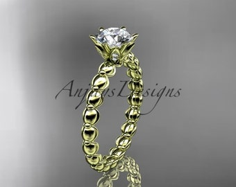Unique rings, 14k yellow gold diamond vine and leaf wedding ring, engagement ring with One Moissanite center stone ADLR34