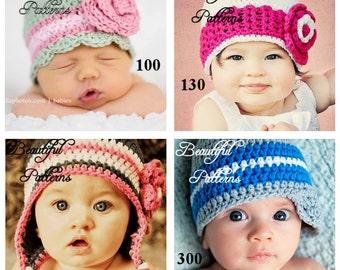 Crochet Hat Pattern  Hat Crochet Pattern 3 For 13.50 Crochet Patterns PDF Sale Pack Combo Deal - Instant Download