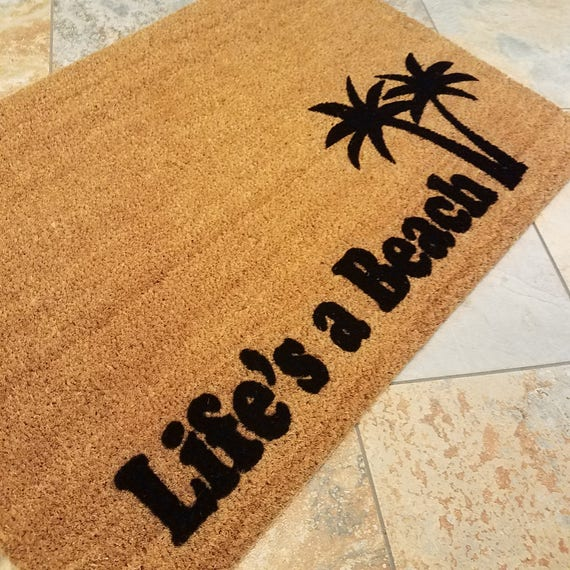 Life,s a Beach Doormat / Welcome Mat / Summer Door Mat / Cute Home Decor / Gifts for Him / Gifts for Her / Palm Trees / Sublime Gift Ideas
