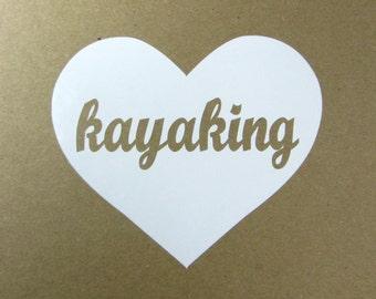 Kayaking heart vinyl car window decal - kayak - kayaking sticker -kayaking - kayak decal - kayak car decal - kayaking decal - kayak sticker