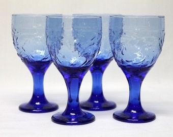 4 Libbey blue wine or water goblets with Garden Vine pattern grape leaf embossed