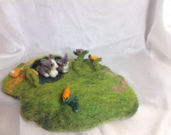 Waldorf inspired little play mat with  bunnies , story mat, wet felted