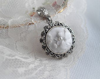 Embroidered Pendant White Silk Ribbon Embroidery Pearl Flower One Of A Kind Gift Wedding Keepsake Hand Embroidered by Marilyn handcraftusa